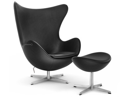 Arne Jacobsen Egg Chair.Fritz Hansen Egg Chair Leather Essential Black With Footstool