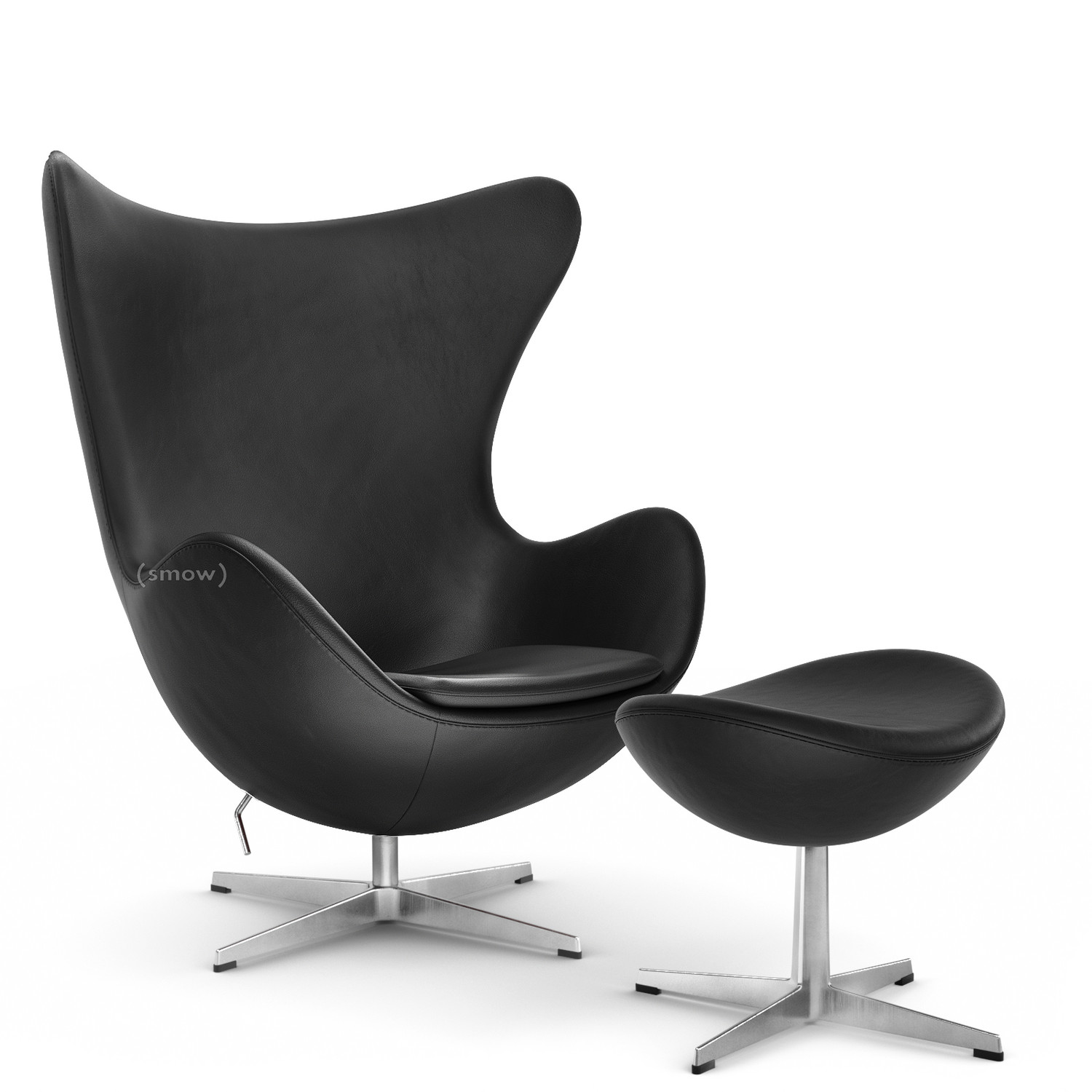 Fritz Hansen Egg Chair Basic Leather Black With Footstool By Arne