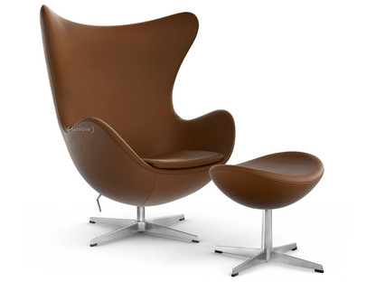 Egg Chair Leather Essential|Walnut|With footstool