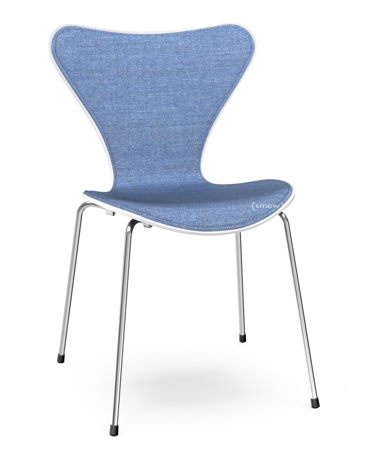 Series 7 Chair Front Upholstered Lacquer White Lacquered Fabric Remix Blue Chrome