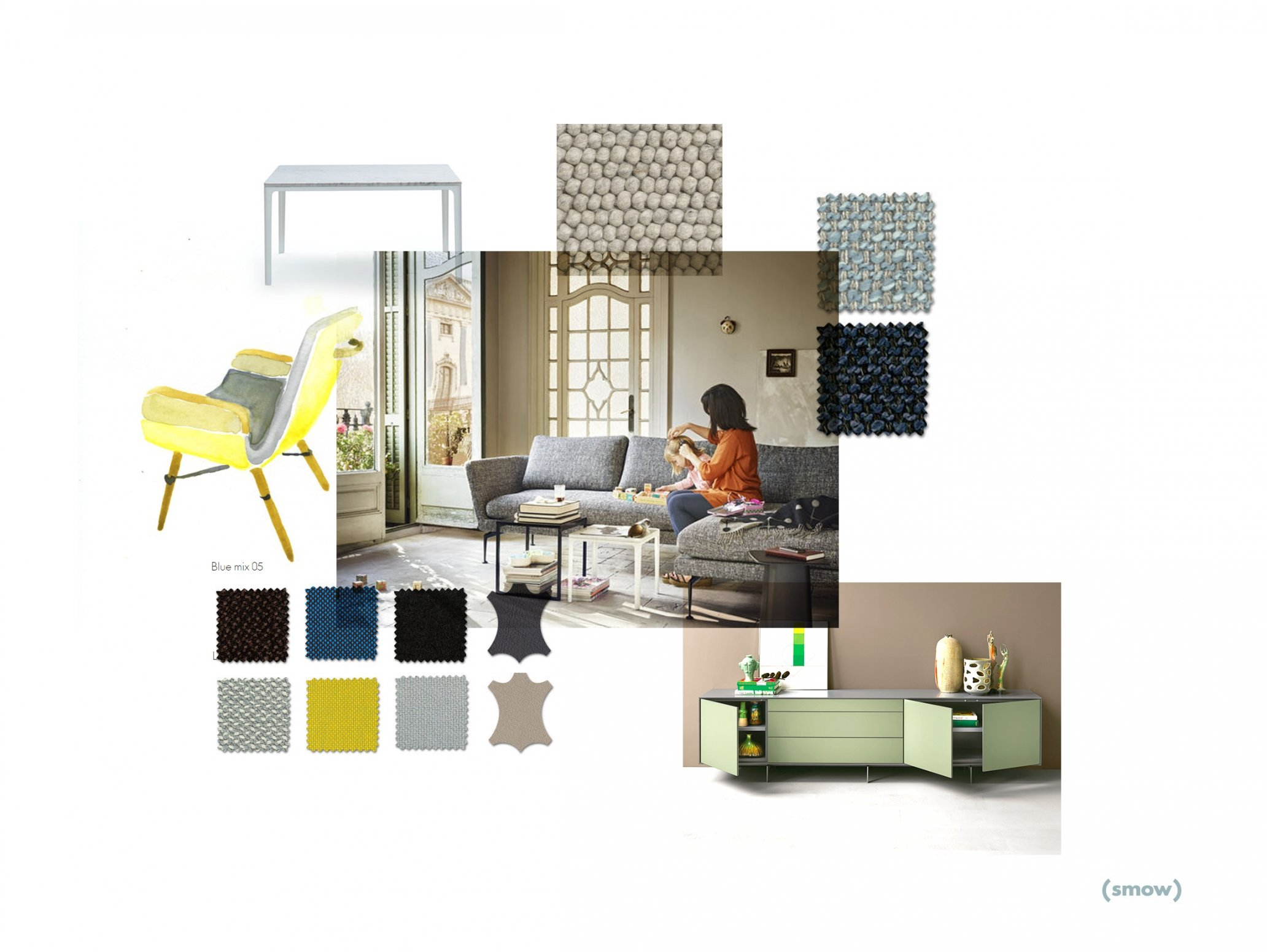 Mood board domestic furnishings