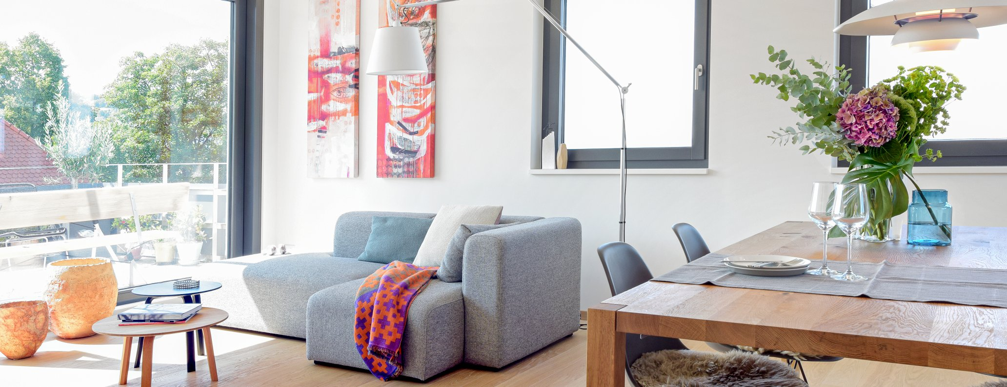 Living room and open kitchen, Stuttgart