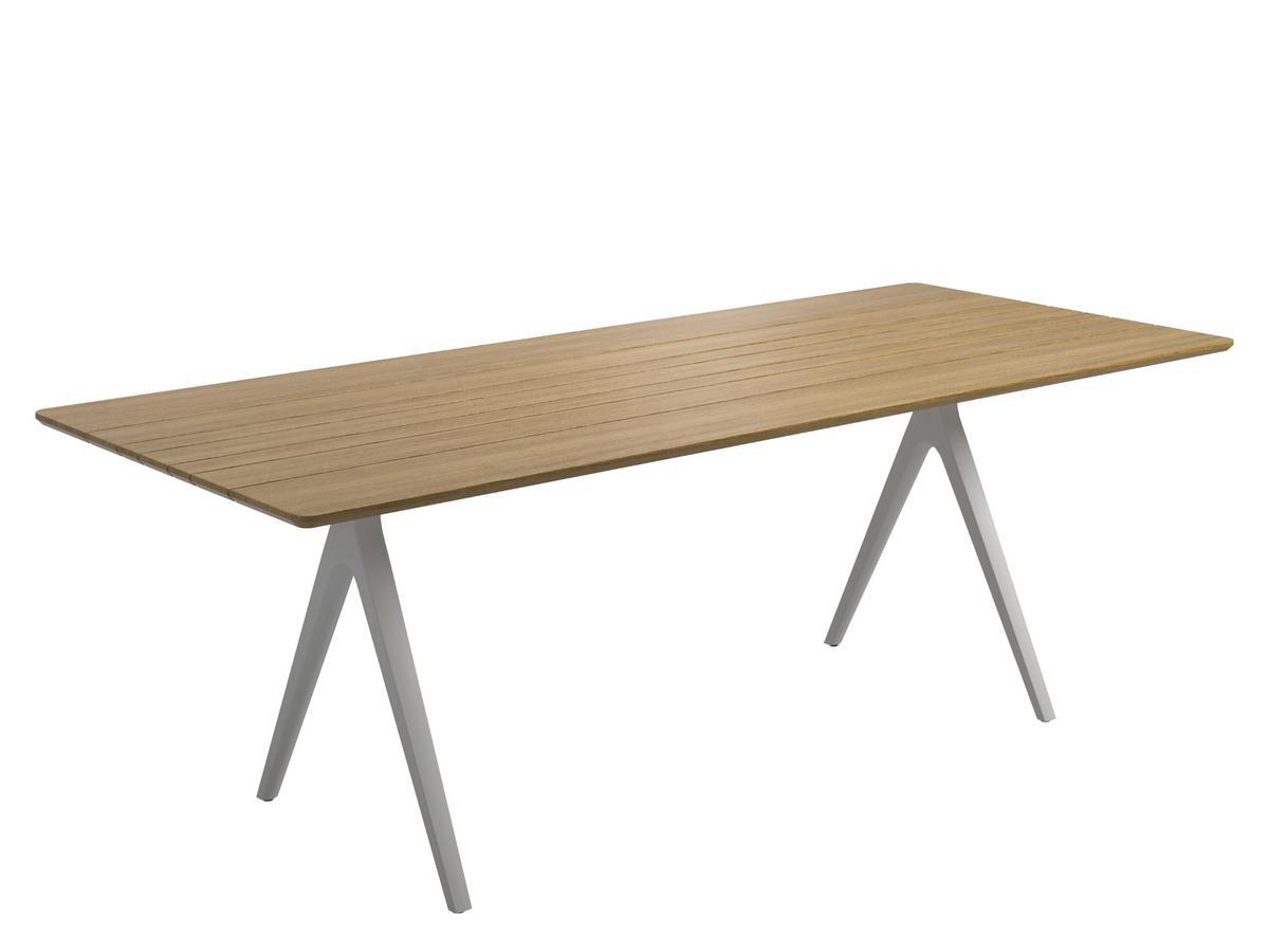 Split Table Buffed Teak|Powder Coated White|L 220 X W 92 Cm