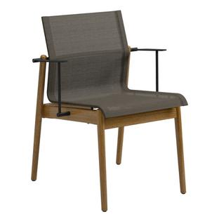 Sway Teak Chair Powder coated anthracite|Fabric Sling granite|With armrests