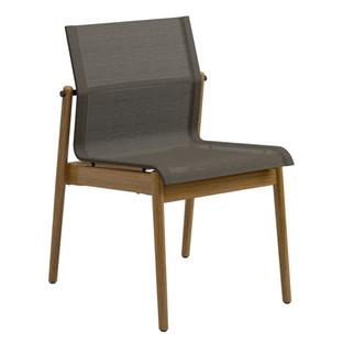 Sway Teak Chair Powder coated anthracite|Fabric Sling granite|Without armrests