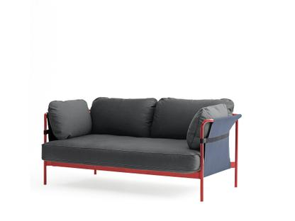 Can Sofa Two-seater Warm red Blue Canvas grey