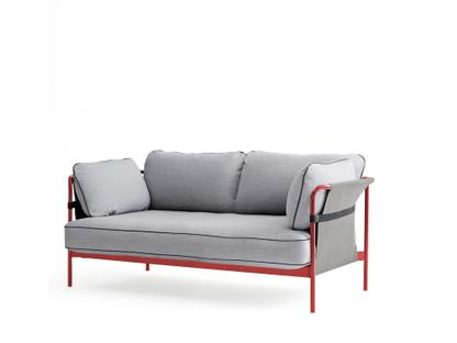 Can Sofa Two-seater|Warm red|Grey|Surface light grey