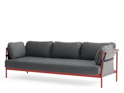 Can Sofa Three-seater Warm red Grey Canvas grey