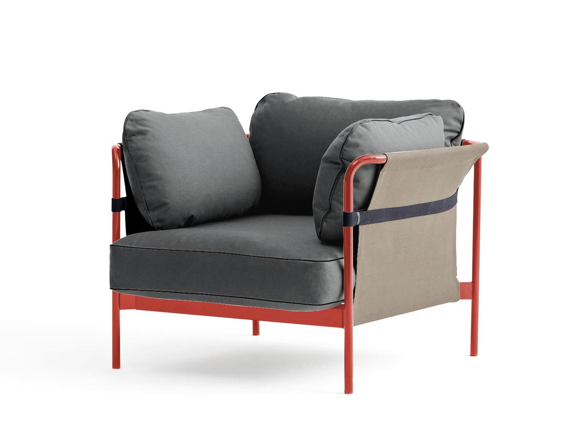 Hay Lounge Stoel.Hay Can Lounge Chair Warm Red Army Canvas Grey By Ronan Erwan