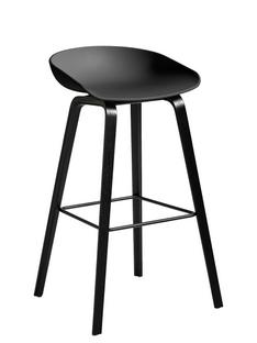 About A Stool AAS 32 Bar version: seat height 74 cm Black stained oak Soft black
