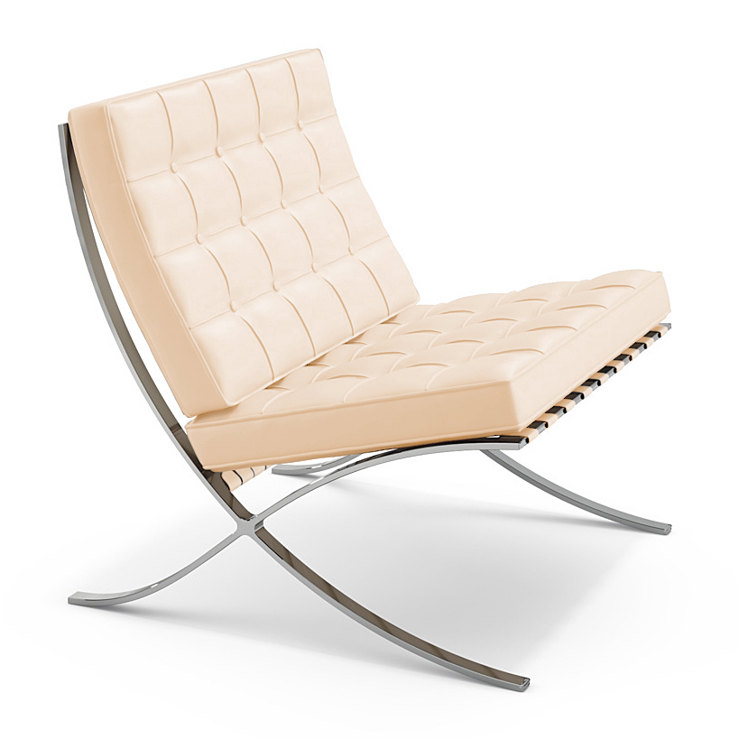 Knoll International Barcelona Chair Volo Parchment By Ludwig Mies
