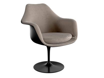 Saarinen Tulip Armchair Swivel|Upholstered inner shell and seat cushion|Black|Beige (Eva 177)