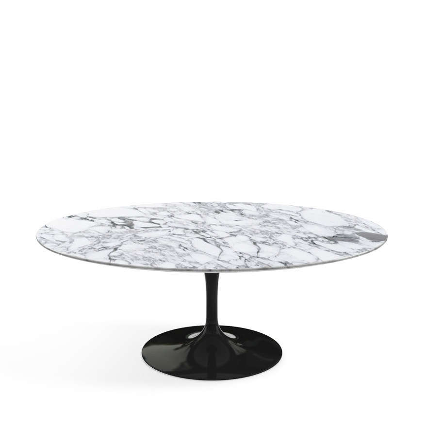 Ordinaire Saarinen Oval Sofa Table Black|Arabescato Marble (white With Grey Tones)