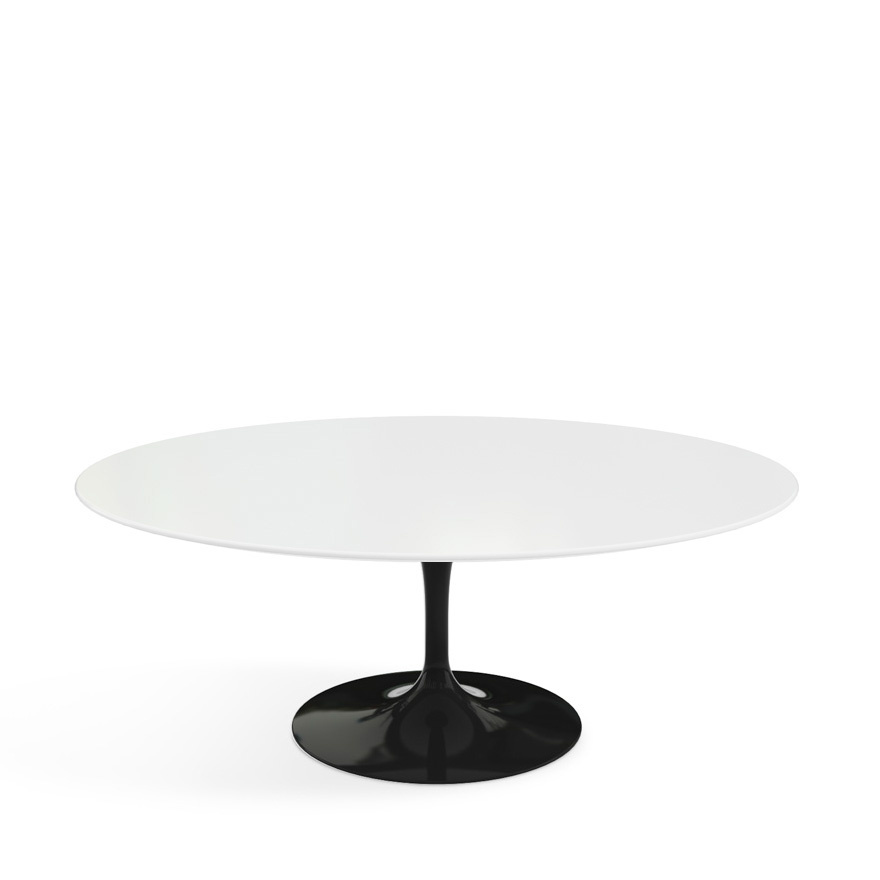 knoll international saarinen oval sofa table black laminate white by eero saarinen 1955 1957. Black Bedroom Furniture Sets. Home Design Ideas