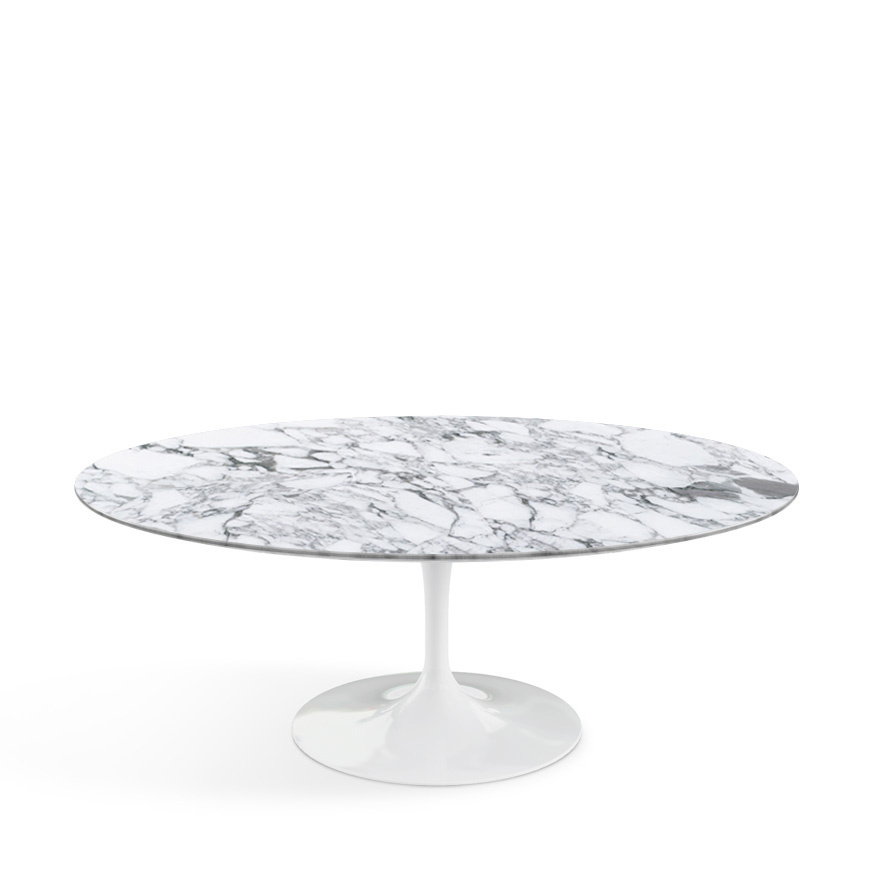Saarinen Oval Sofa Table White|Arabescato Marble (white With Grey Tones)