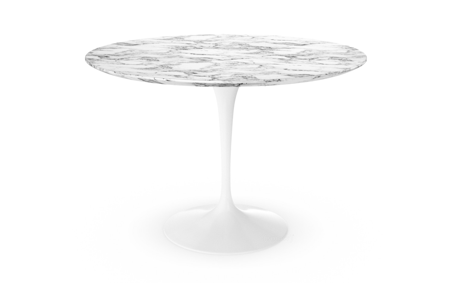 Saarinen Round Dining Table 107 Cm White Arabeo Marble With Grey Tones