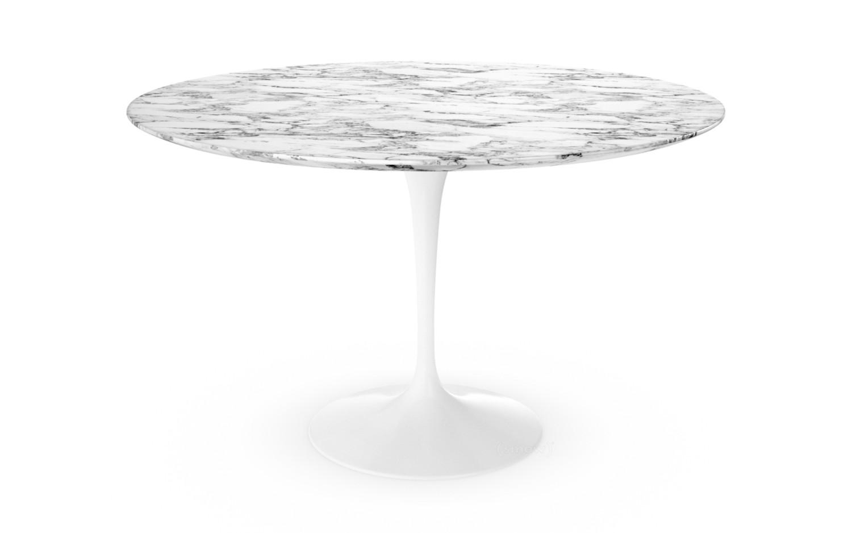 Knoll International Saarinen Round Dining Table 120 Cm White Arabescato Marble White With Grey Tones By Eero Saarinen 1955 1957 Designer Furniture By Smow Com