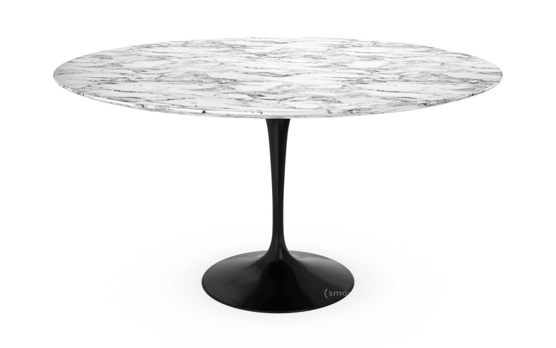 Knoll International Saarinen Round Dining Table 137 Cm Black Arabescato Marble White With Grey Tones By Eero Saarinen 1955 1957 Designer Furniture By Smow Com