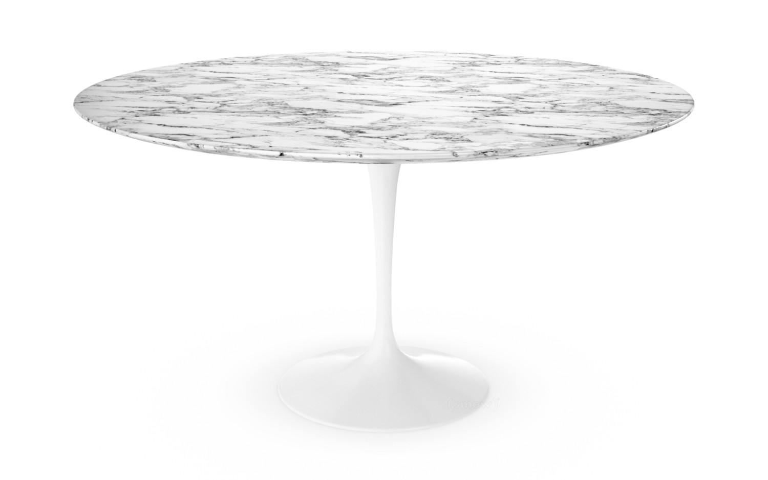 Charmant Saarinen Round Dining Table 137 Cm|White|Arabescato Marble (white With Grey  Tones
