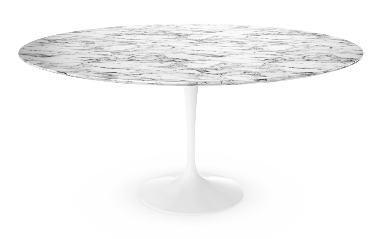 Knoll International Saarinen Round Dining Table 152 Cm White Arabescato Marble White With Grey Tones By Eero Saarinen 1955 1957 Designer Furniture By Smow Com