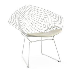 Diamond Chair with cushion|Rilsan protective coating white|Vinyl white