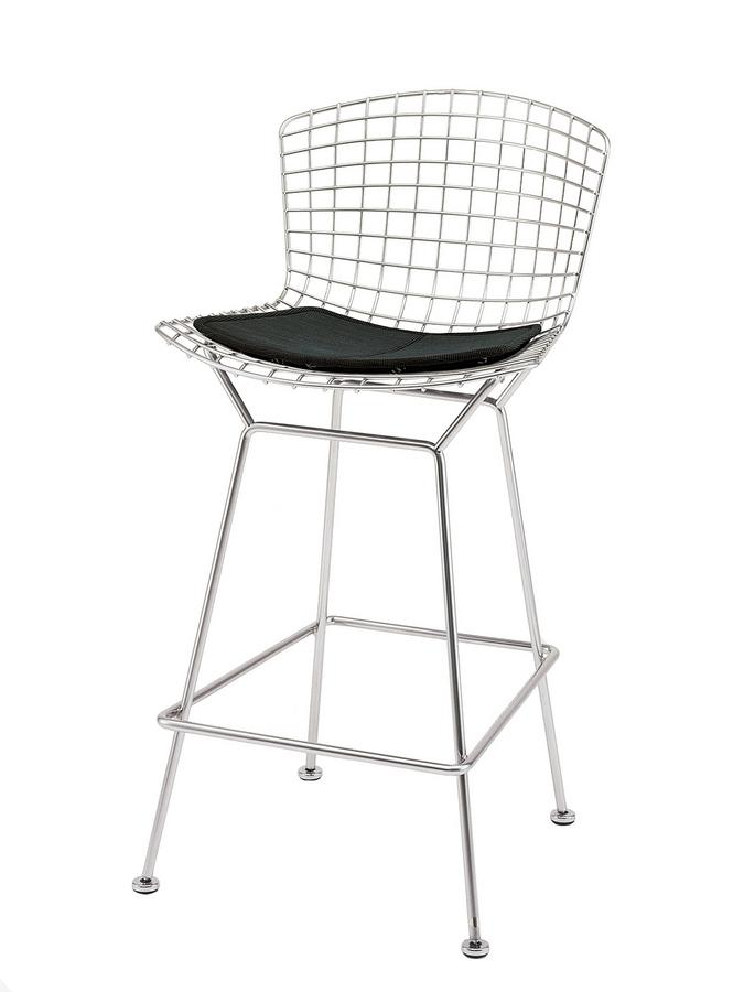 buy popular f6eec 5294f Knoll International Bertoia Barstool, with cushion, Chrome-plated, Black  (Tonus 128)