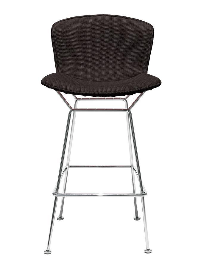 Knoll International Bertoia Barstool, Full upholstery, satin chrome-plated,  Black (Tonus 128) by Harry Bertoia, 1952 - Designer furniture by smow.com