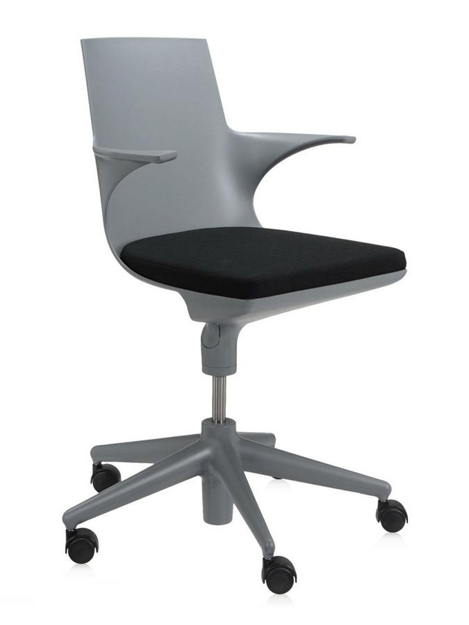 Charmant Spoon Chair Base Grey, Cushion Black