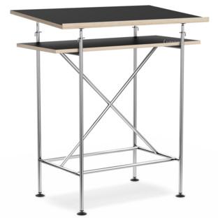 High Desk Milla 70cm|Chrome|Black melamine with oak edges