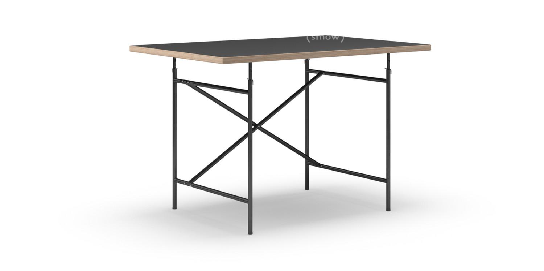 Eiermann Table Linoleum Black With Oak Edge|120 X 80 Cm|Black|Vertical