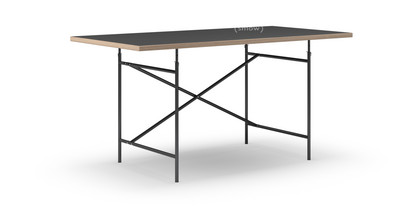 Eiermann Table Linoleum Black With Oak Edge|160 X 80 Cm|Black|Vertical
