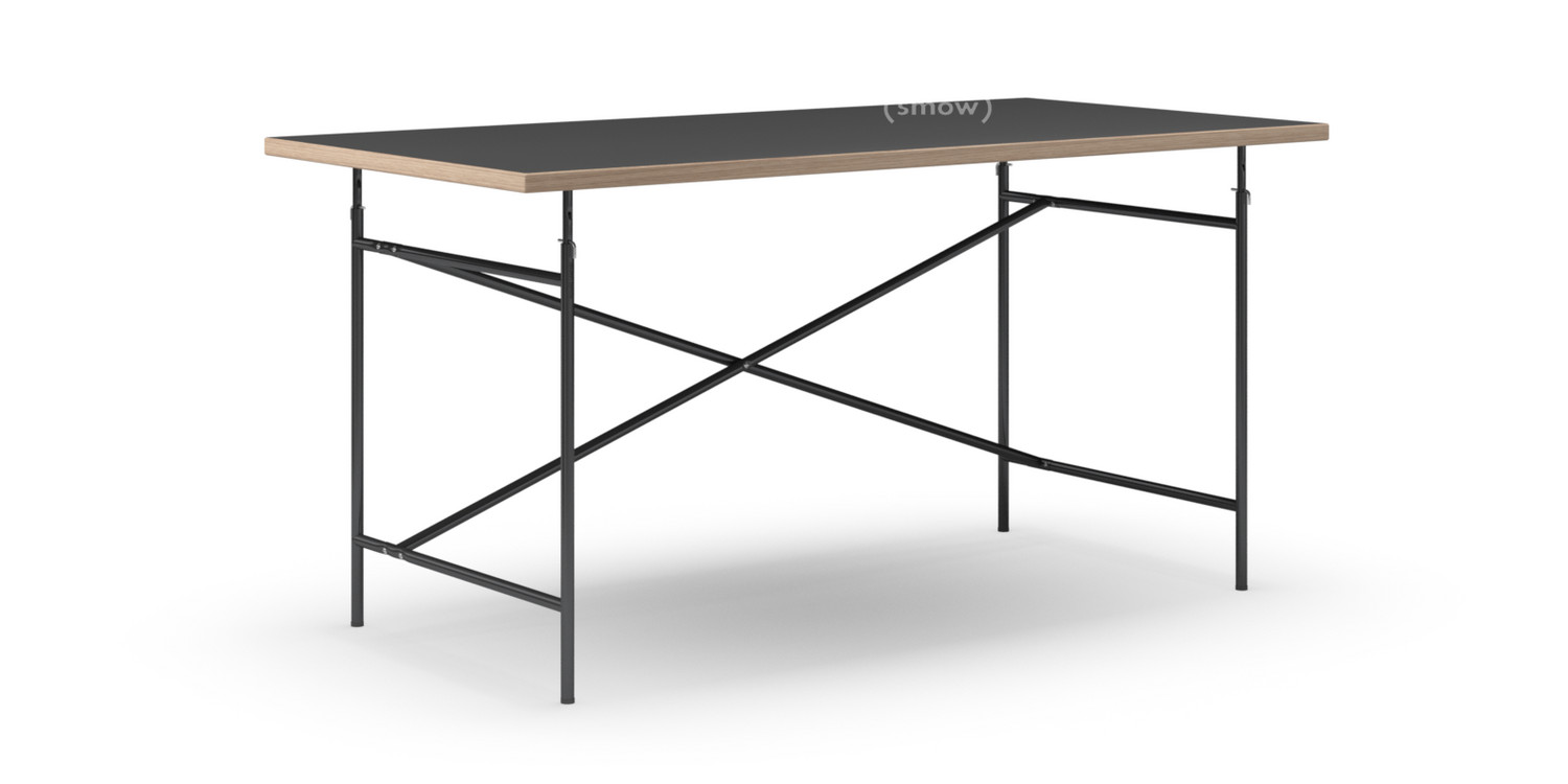 Fesselnd Eiermann Table Linoleum Black With Oak Edge|160 X 80 Cm|Black|Vertical