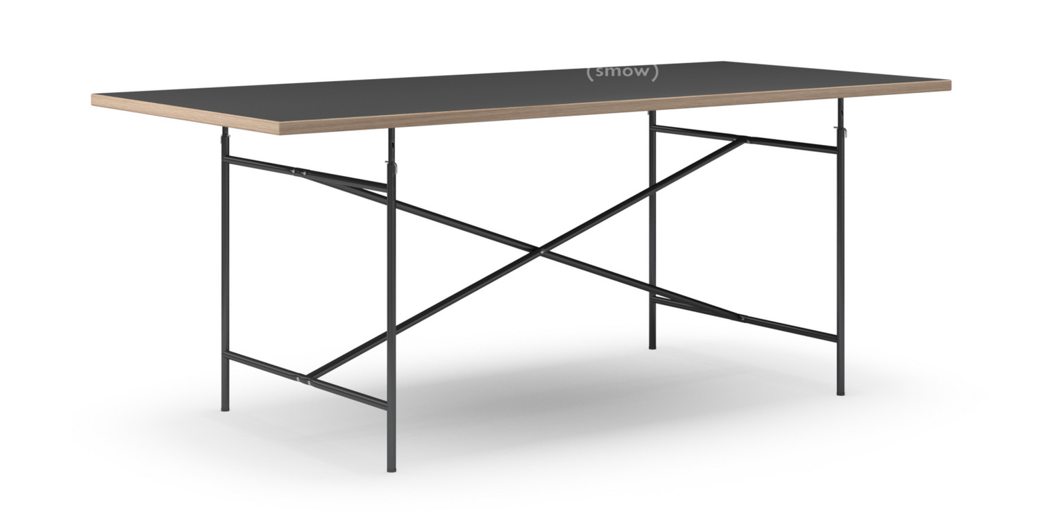Wunderbar Eiermann Table Linoleum Black With Oak Edge|200 X 90 Cm|Black|Vertical