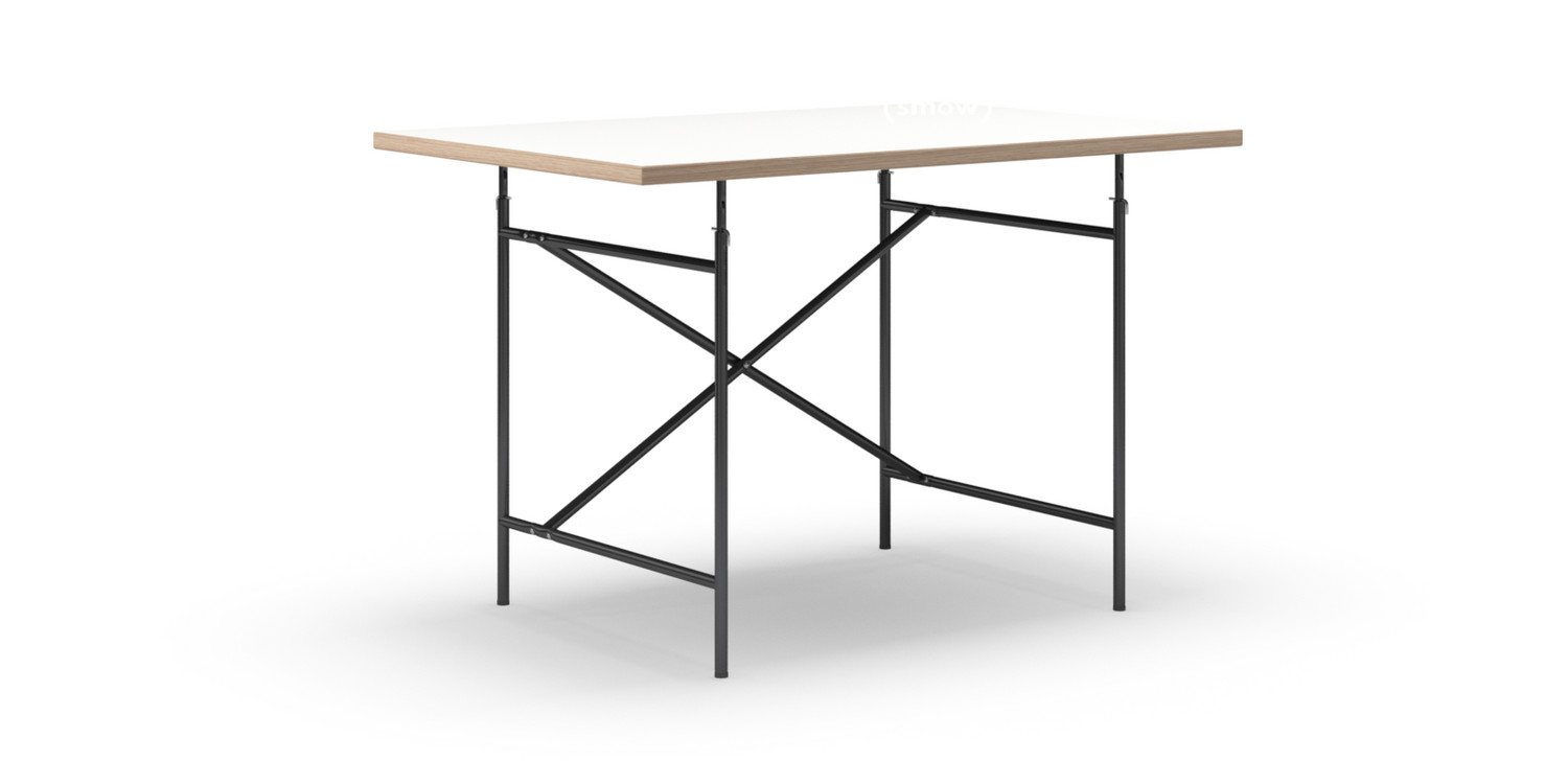 Richard lampert eiermann table white melamine with oak for Tisch schwarz