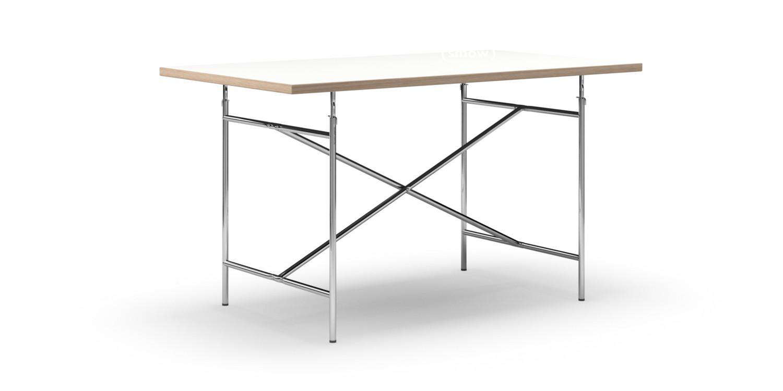 Eiermann Table White Melamine With Oak Edge|140 X 80 Cm|Chrome|Vertical