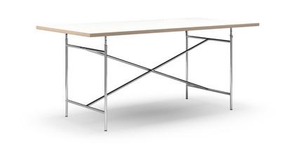 richard lampert eiermann table white melamine with oak edge 180 x 90 cm chrome vertical. Black Bedroom Furniture Sets. Home Design Ideas