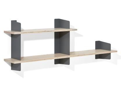 Wall Shelf Atelier 3-layer fir/spruce veneer with white-pigmented lacquer|Basalt grey|Version 3|1x 100 + 1x 160 cm