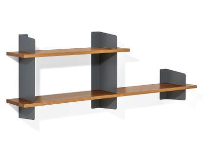 Wall Shelf Atelier Solid oak Basalt grey Version 3 1x 100 + 1x 160 cm