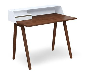 PS04/PS05 Secretary W 100 x D 63 cm (PS04)|Signal white (RAL 9003)|Walnut oiled|With power box