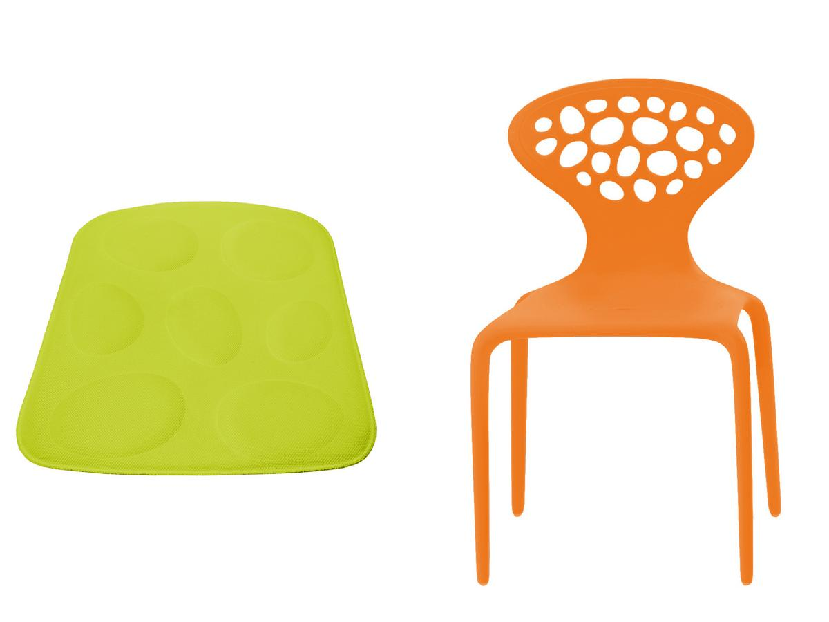 moroso supernatural chair orange with seat cushion green by ross