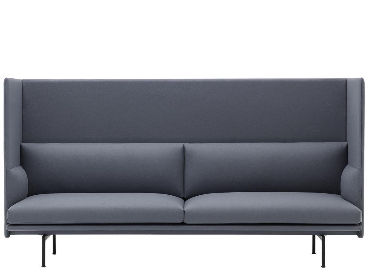 Muuto Outline Highback Sofa 3 Seater Divina 154 Slate Blue By