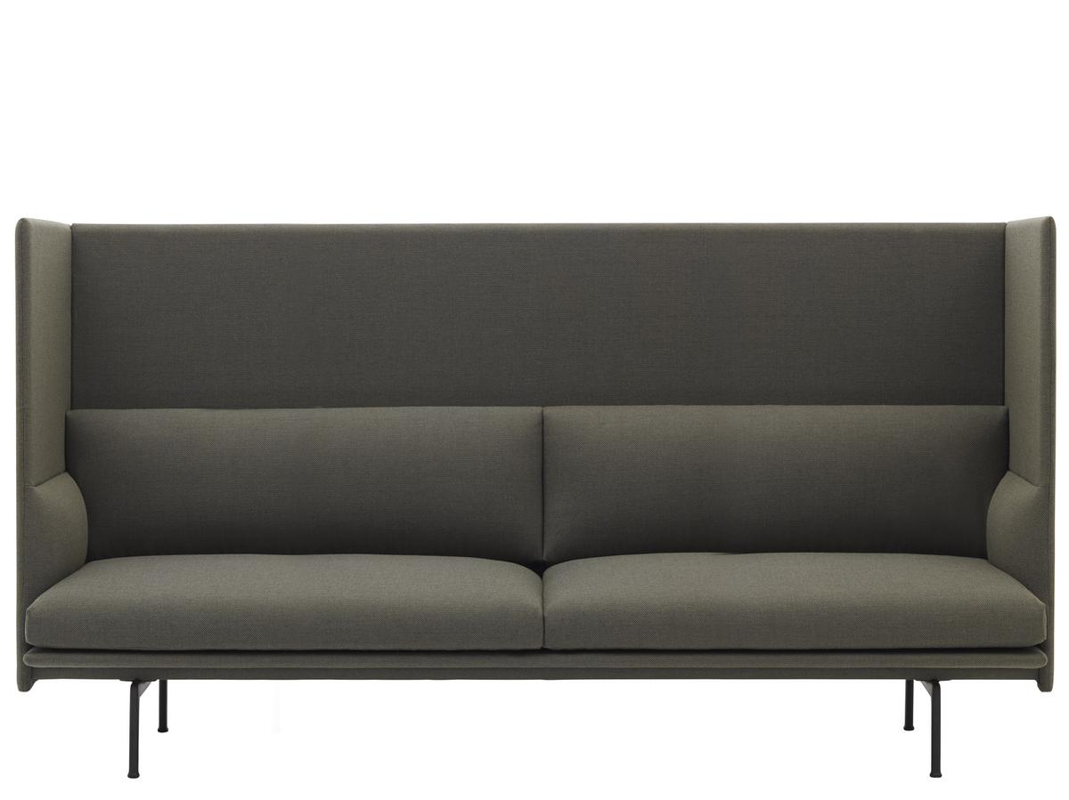 Muuto Outline Highback Sofa 3 Seater Fabric Fiord 961 Greyish