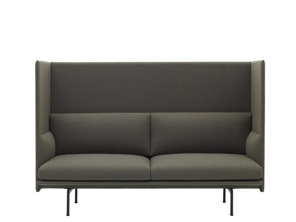 Muuto Outline Highback Sofa 2 Seater Fabric Fiord 961 Greyish Green