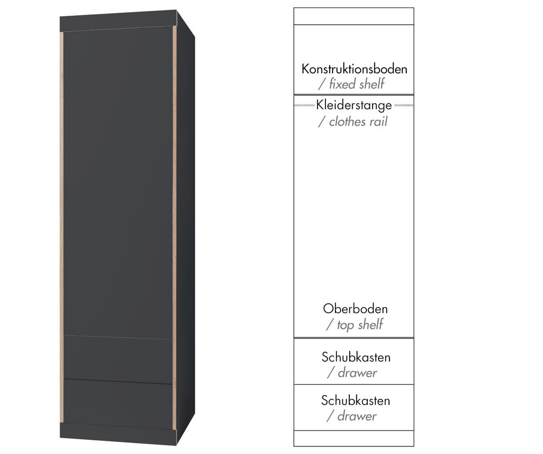 Muller Small Living Flai Wardrobe Small 216 X 61 X 61 Cm Melamine Anthracite With Birch Edge Configuration 5
