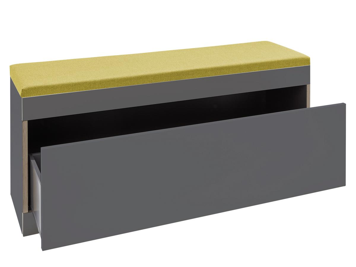 Picture of: Muller Small Living Flai Storage Bench Melamine Anthracite With Birch Edge With Drawer With Seat Pad Saffron By Kaschkasch Designer Furniture By Smow Com
