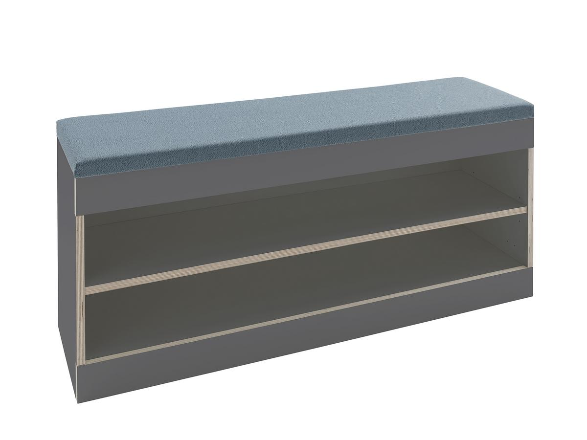 Picture of: Muller Small Living Flai Storage Bench Melamine Anthracite With Birch Edge Open With Seat Pad Petrol Blue By Kaschkasch Designer Furniture By Smow Com