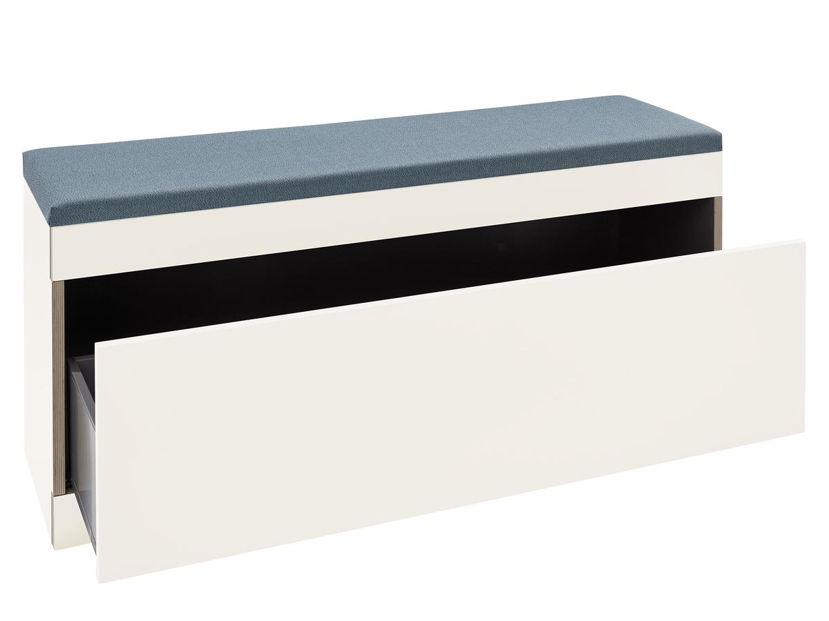Picture of: Muller Small Living Flai Storage Bench Melamine White With Birch Edge With Drawer With Seat Pad Petrol Blue By Kaschkasch Designer Furniture By Smow Com