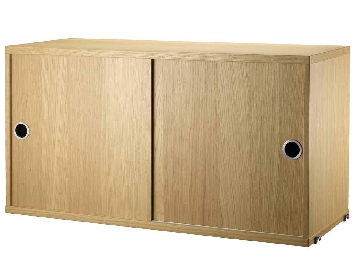 String System Cabinet With Sliding Doors Oak Veneer 30 Cm By Nisse