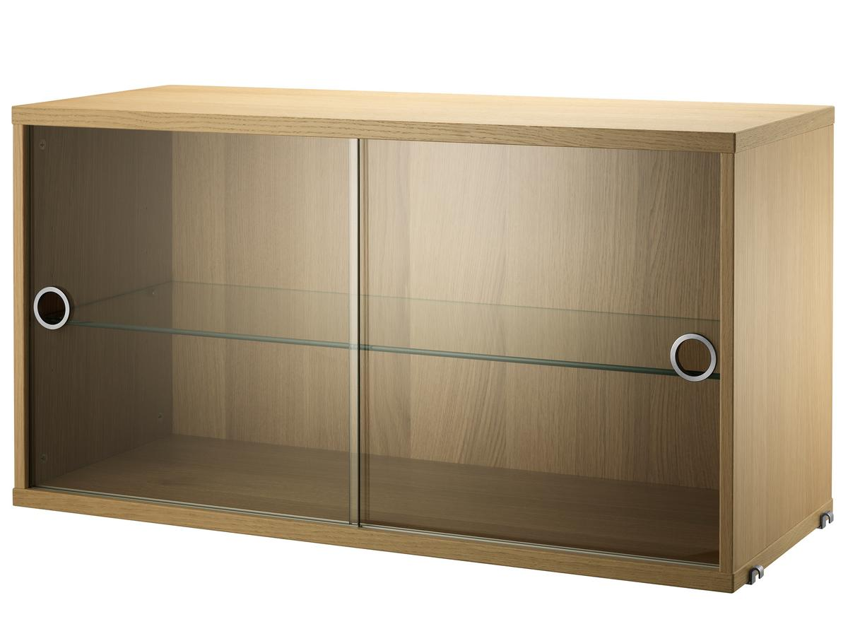 String System Display Cabinet With Sliding Glass Doors Oak Veneer