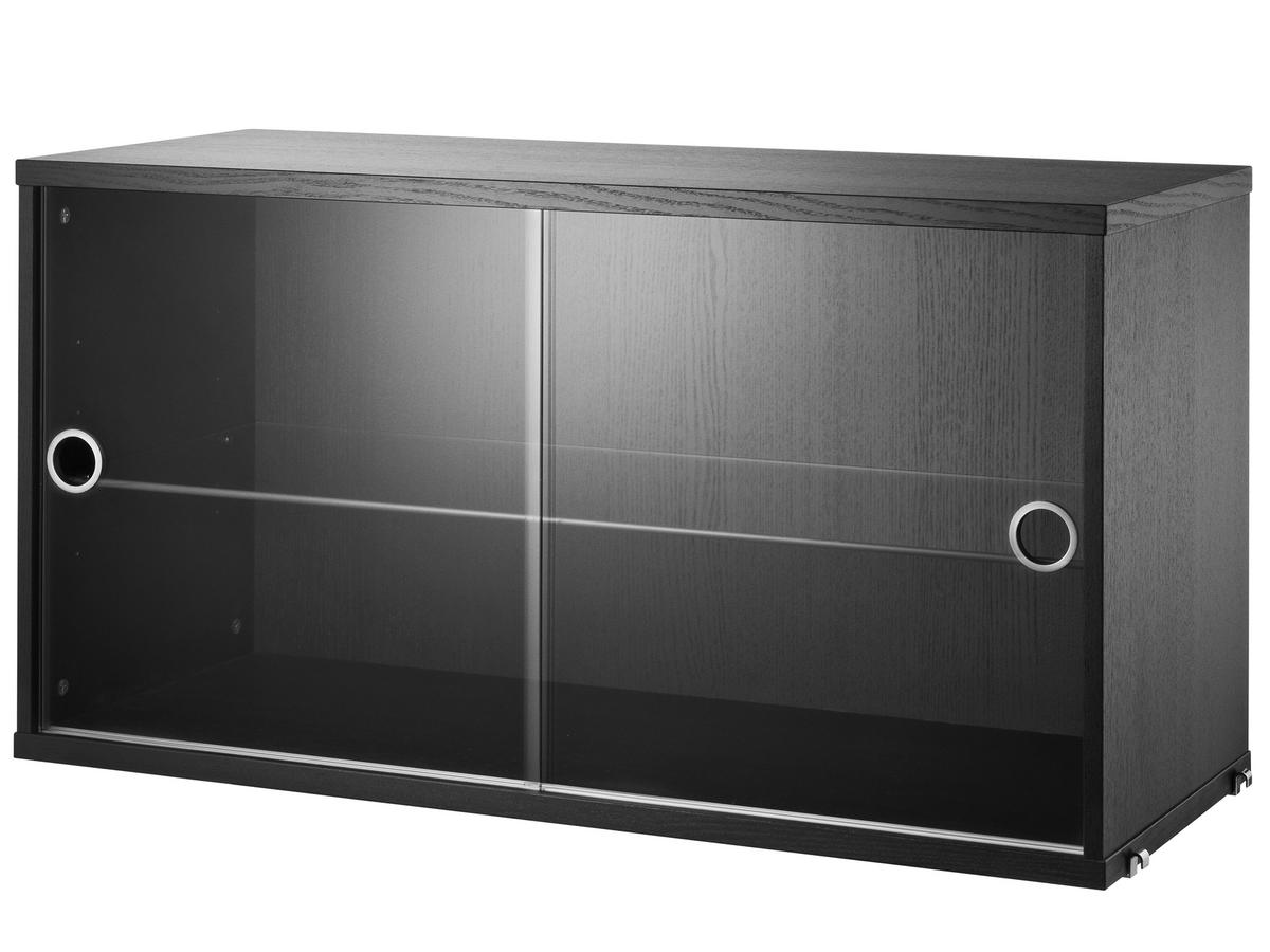 String System Display Cabinet With Sliding Glass Doors Black Ash